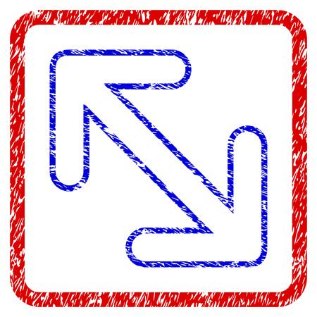 Flip Arrows Diagonal grunge textured icon