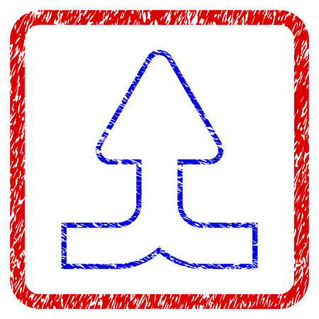 Merge Arrow Up grunge textured icon. Rounded red frame with blue symbol with unclean texture. Blue and red colors. Corroded vector stamp with grainy design. Illustration