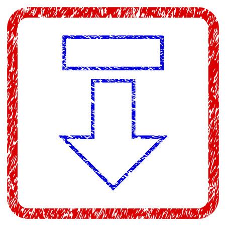 Pull arrow down grunge textured icon. Illustration