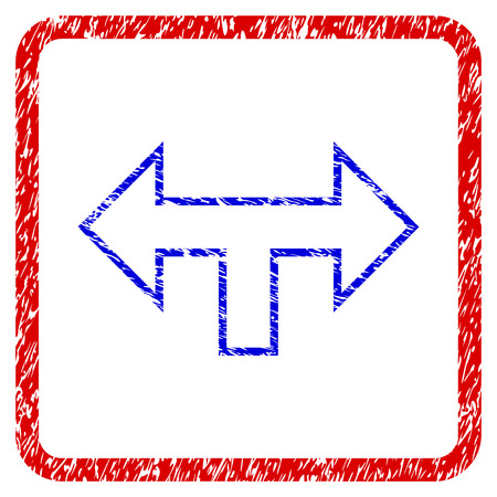 Junction Arrow Left Right grunge textured icon. Rounded red frame with blue symbol with scratched texture. Blue and red colors. Corroded vector stamp with grainy design. Illustration