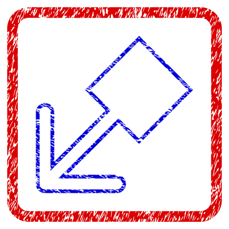 Pull Left Down grunge textured icon. Rounded red frame with blue symbol with unclean texture. Blue and red colors. Corroded vector stamp with grainy design. Illustration