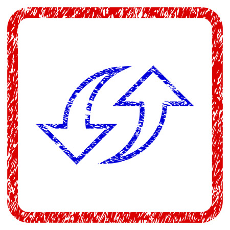 Replace Arrows grunge textured icon. Rounded red frame with blue symbol with dirty texture. Blue and red colors. Corroded vector stamp with grainy design.
