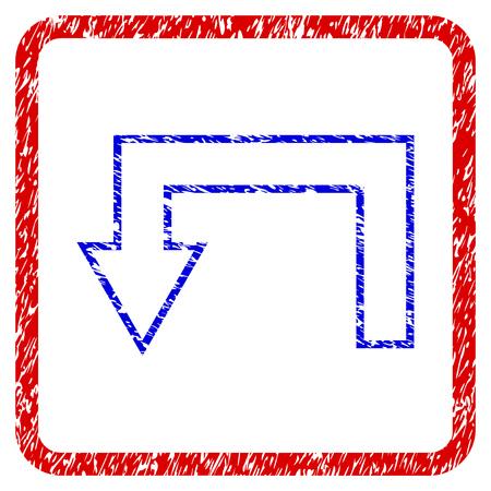 矢印グランジテクスチャアイコンを返します。ほこりのテクスチャと青のシンボルと丸みを帯びた赤枠。青と赤の色。粗いデザインの腐食ベクター