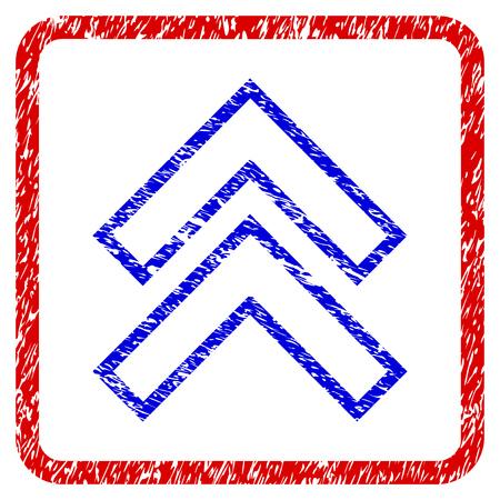maj icône grunge arrondi . arrondi cadre noir avec le symbole bleu et rayures rouge . bleu avec des boutons de couleur désaturées . vecteur bouton granuleux , icône