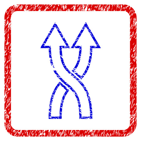 Shuffle Arrows Up grunge textured icon. Rounded red frame with blue symbol with scratched texture. Blue and red colors. Corroded vector stamp with grainy design.