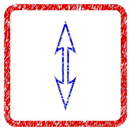 Size Arrow Vertical grunge textured icon. Rounded red frame with blue symbol with unclean texture. Corroded vector stamp with grainy design. Illustration