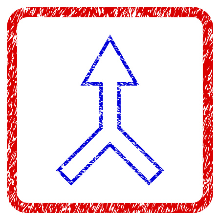 Unite Arrow Up grunge textured icon. Rounded red frame with blue symbol with dust texture. Corroded vector stamp with grainy design.