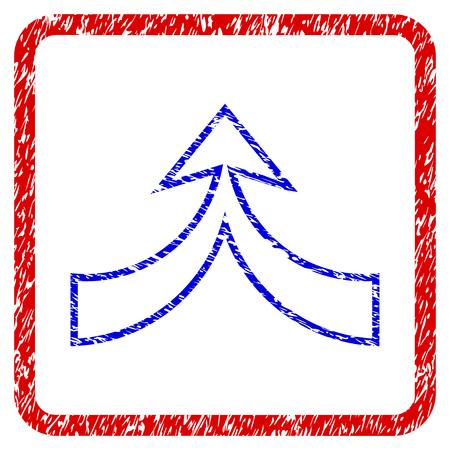 Vereinigen Sie Pfeil nach oben Grunge texturierte Symbol. Abgerundeter roter Rahmen mit blauem Symbol mit unsauberer Beschaffenheit. Korrodierter Vektorstempel mit körnigem Design. Vektorgrafik