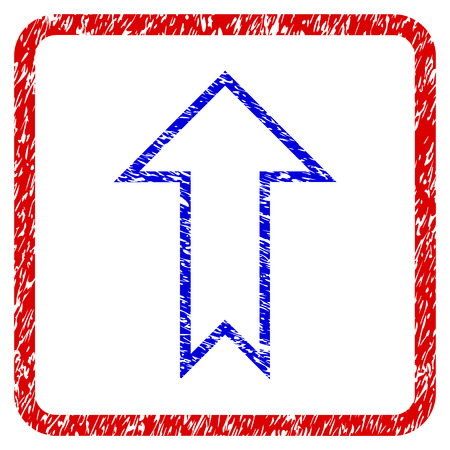 Arrow Up grunge textured icon. Rounded red frame with blue symbol with unclean texture. Blue and red colors. Corroded raster stamp with grainy design. Designed for overlay watermark stamp imitations. Stock Photo