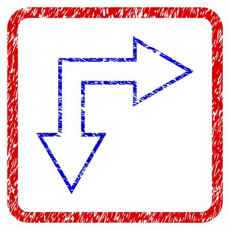 Opción flecha hacia abajo grunge textura icono. Marco rojo redondeado con símbolo azul con textura rayada. Colores azul y rojo Sello de trama corroído con diseño granulado.