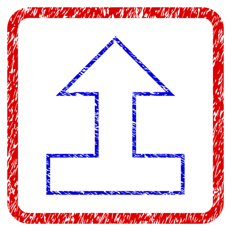 Connect Arrow Up grunge textured icon. Rounded red frame with blue symbol with dirty texture. Blue and red colors. Corroded raster stamp with grainy design. Stock Photo