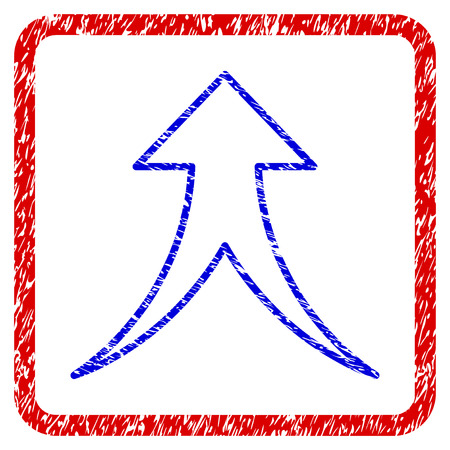 Merge Arrow Up grunge textured icon. Rounded red frame with blue symbol with scratched texture. Blue and red colors. Corroded raster stamp with grainy design.
