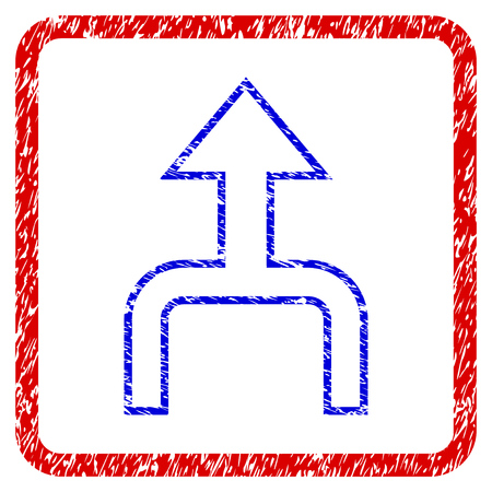 Combine Arrow Up grunge textured icon. Rounded red frame with blue symbol with unclean texture. Blue and red colors. Corroded raster stamp with grainy design. Stock Photo