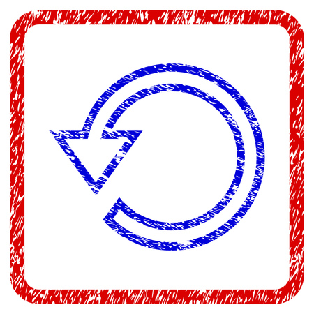 Rotate grunge textured icon. Rounded red frame with blue symbol with scratched texture. Blue and red colors. Corroded raster stamp with grainy design. Designed for overlay watermark stamp imitations.