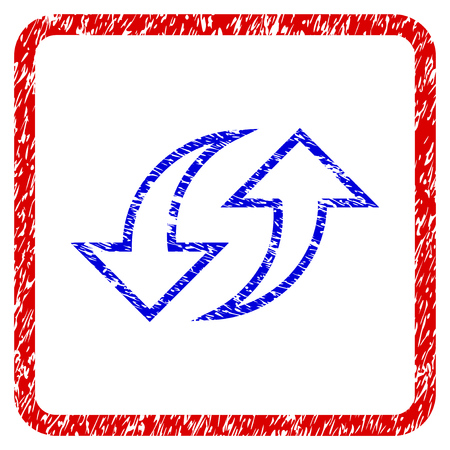 Replace Arrows grunge textured icon. Rounded red frame with blue symbol with unclean texture. Blue and red colors. Corroded raster stamp with grainy design. Stock Photo