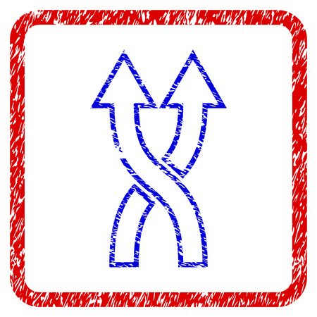 Shuffle Arrows Up grunge textured icon. Rounded red frame with blue symbol with scratched texture. Blue and red colors. Corroded raster stamp with grainy design.