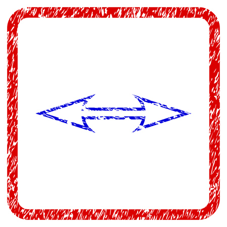 Size Arrow Horizontal grunge textured icon. Rounded red frame with blue symbol with dust texture. Blue and red colors. Corroded raster stamp with grainy design.