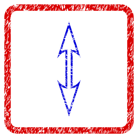 Size Arrow Vertical grunge textured icon. Rounded red frame with blue symbol with scratched texture. Blue and red colors. Corroded raster stamp with grainy design. Banco de Imagens
