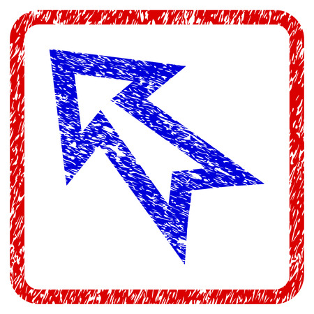 Arrow Left Up grunge textured icon. Rounded red frame with blue symbol with dirty texture. Blue and red colors. Corroded raster stamp with grainy design.