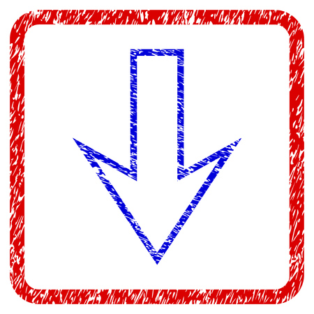 moving down: Arrow Down grunge textured icon. Rounded red frame with blue symbol with dirty texture. Blue and red colors. Corroded raster stamp with grainy design. Designed for overlay watermark stamp imitations. Stock Photo