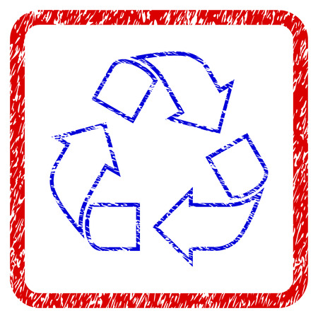 Recycle grunge textured icon. Rounded red frame with blue symbol with dirty texture. Blue and red colors. Corroded raster stamp with grainy design. Designed for overlay watermark stamp imitations. Stock Photo