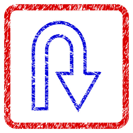 U Turn grunge textured icon. Rounded red frame with blue symbol with dust texture. Blue and red colors. Corroded raster stamp with grainy design. Designed for overlay watermark stamp imitations.