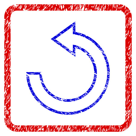 Rotate CCW grunge textured icon. Rounded red frame with blue symbol with dirty texture. Blue and red colors. Corroded raster stamp with grainy design. Designed for overlay watermark stamp imitations.