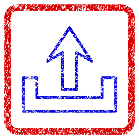 Upload grunge textured icon. Rounded red frame with blue symbol with dust texture. Blue and red colors. Corroded vector stamp with grainy design. Designed for overlay watermark stamp imitations. Illustration