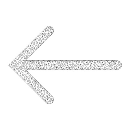Mesh vector arrow left on a white background. Polygonal wireframe grey arrow left in low poly style with connected triangles, nodes and lines.
