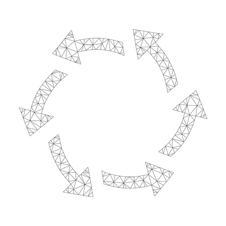 Mesh vector centrifugal arrows on a white background. Polygonal carcass grey centrifugal arrows in low poly style with combined triangles, nodes and linear items.