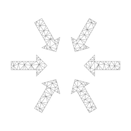 Mesh vector compact arrows on a white background. Polygonal wireframe grey compact arrows in lowpoly style with organized triangles, dots and lines.