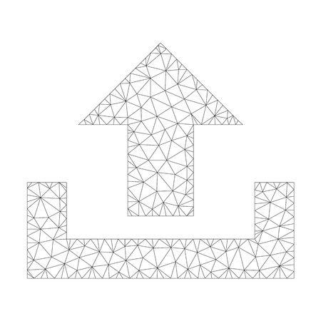 Mesh vector upload on a white background. Polygonal carcass grey upload in lowpoly style with connected triangles, points and linear items. Illustration