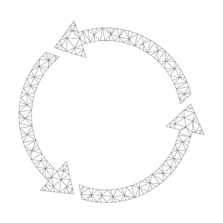 Mesh vector recycle on a white background. Polygonal carcass dark gray recycle in lowpoly style with connected triangles, nodes and linear items.