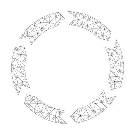 Mesh vector circulation icon on a white background. Polygonal carcass dark gray circulation image in lowpoly style with organized triangles, points and linear items.