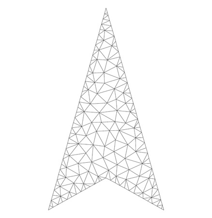 Mesh vector arrowhead up icon on a white background. Polygonal carcass gray arrowhead up image in lowpoly style with combined triangles, points and lines.