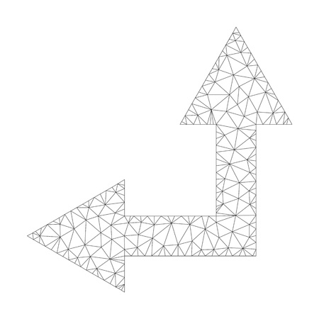 Mesh vector bifurcation arrow left up icon on a white background. Polygonal wireframe gray bifurcation arrow left up image in low poly style with connected triangles, dots and lines. Illustration