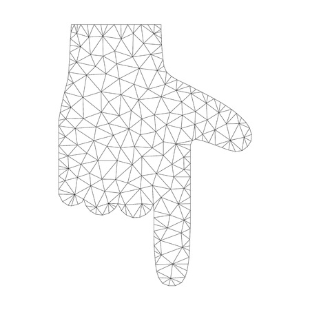 Mesh vector hand pointer down icon on a white background. Polygonal carcass gray hand pointer down image in lowpoly style with structured triangles, nodes and lines. Vettoriali