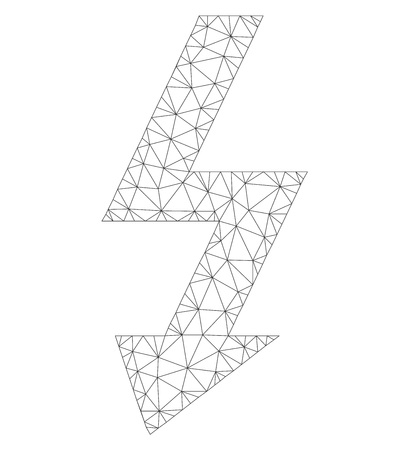 Mesh vector high voltage icon on a white background. Polygonal wireframe dark gray high voltage image in lowpoly style with organized triangles, nodes and lines.