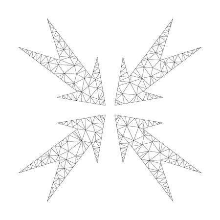 Mesh vector compression arrows icon on a white background. Polygonal carcass gray compression arrows image in low poly style with organized triangles, dots and linear items. Vettoriali
