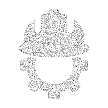 Mesh vector development helmet icon on a white background. Polygonal carcass dark gray development helmet image in lowpoly style with organized triangles, dots and lines.