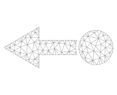 Mesh vector pull left icon on a white background. Polygonal carcass gray pull left image in lowpoly style with combined triangles, nodes and linear items.