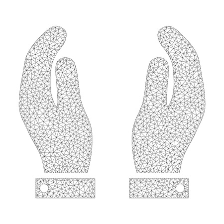 Mesh vector care hands icon on a white background. Polygonal wireframe grey care hands image in lowpoly style with organized triangles, dots and linear items.
