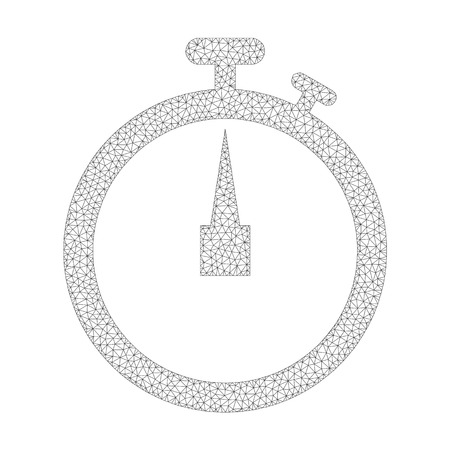 Mesh vector stopwatch icon on a white background. Polygonal wireframe grey stopwatch image in lowpoly style with organized triangles, dots and linear items. Vettoriali