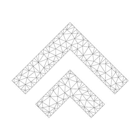 Icône de vecteur de maillage vers le haut sur un fond blanc. Image de décalage gris foncé de la carcasse polygonale dans un style lowpoly avec des triangles, des points et des éléments linéaires combinés. Vecteurs