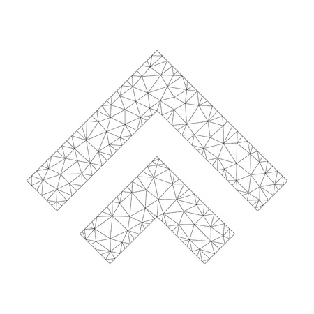 Mesh vector shift up icon on a white background. Polygonal carcass dark gray shift up image in lowpoly style with combined triangles, dots and linear items.