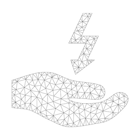 Mesh vector electricity supply hand icon on a white background. Polygonal wireframe dark gray electricity supply hand image in low poly style with combined triangles, points and linear items. Illustration
