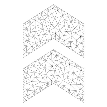 Icône de vecteur de maillage vers le haut sur un fond blanc. Image de décalage gris foncé filaire polygonale dans un style lowpoly avec des triangles, des nœuds et des éléments linéaires organisés.