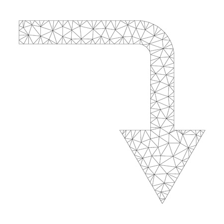 Mesh vector turn down icon on a white background. Polygonal carcass grey turn down image in low poly style with organized triangles, dots and linear items.