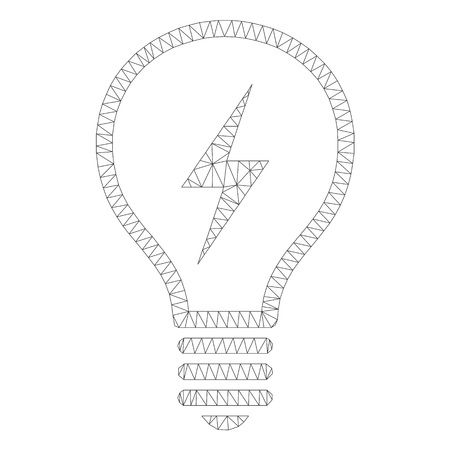Mesh vector electric bulb icon on a white background. Polygonal wireframe dark gray electric bulb image in low poly style with structured triangles, dots and linear items.