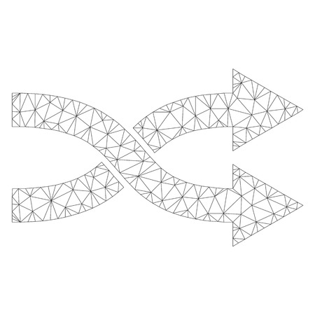 Mesh vector shuffle arrows right icon on a white background. Polygonal wireframe gray shuffle arrows right image in lowpoly style with combined triangles, dots and linear items. Stok Fotoğraf